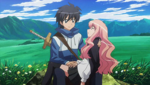 Saito and Louise from Zero no Tsukaima. Saito is Louises familiar.