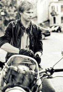 Bradley James on a motorbike <3