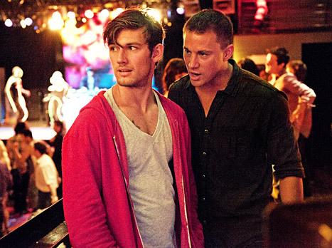 Channing Tatum talking to Alex Pettyfer in Magic Mike. Too much hotness for one picture!