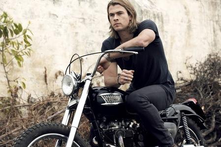my Aussie hottie sitting on a motorcycle<3