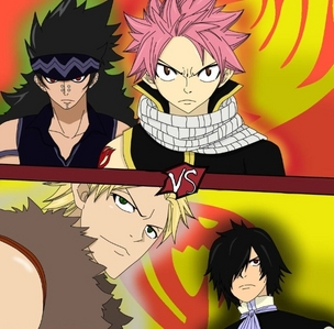 Natsu and Gajeel vs Sting and Rogue (Fairy Tail), this battle was so EPIC. Aonther ones are Erza's pandemonium game (if it counts) and Naruto vas Pein.