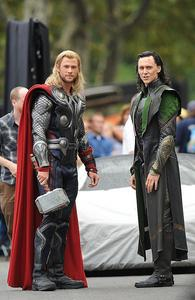 Thor and Loki,aka Chris Hemsworth and Tom Hiddleston