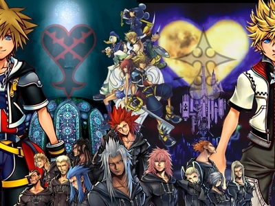 I have it set to change every ten minuten between certain picture files that I have selected for so, and it is currently this Kingdom Hearts art.