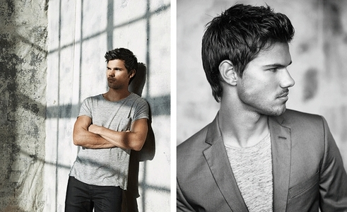 Taylor Lautner looking to the side<3