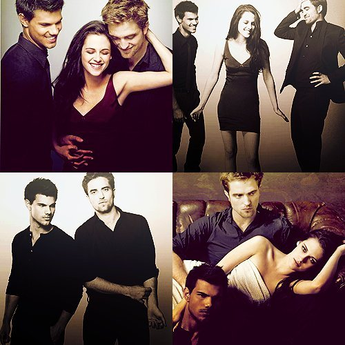 my beautiful man with his 2 Twilight co-stars,Kristen and Taylor<3