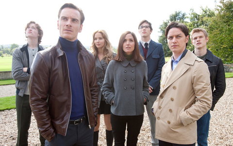 James McAvoy, Michael Fassbender, along with some of the other cast mates from X-Men: First Class.