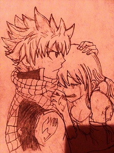Natsu and Lucy! :D Sorry about that shadow towards the bottom; used a crappy scanner, otherwise known as my phone. And the lightings weird cuz of some sunting I did with aviary....