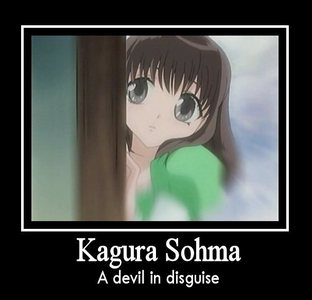 Once again, Kagura Sohma! <3 She is usually really cute and kind, but when she is around Kyo... and she is pissed of... let's say she can't control her emotions ;DDD
