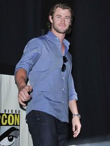 my sexy Australian babe,Chris wearing a sando at Comic Con 2011<3