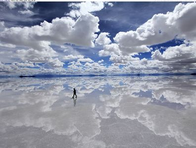 I'd say the most beautiful place I've ever would be....Salar de Uyuni a salt pan in Bolivia.It's like a giant mirror created Von nature.