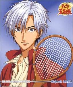 Kojiro Saeki from Prince of Tenis has silver-white hair with black on the bottom layer of his hair(two-toned)... I wonder if silver-white is accepted atau not???