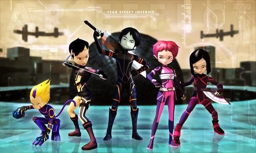 Code Lyoko Evolution Left to right: Odd, Ulrich, William, Aelita and Yumi.