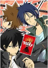 Tsuna , Mukuro , and Hibari from Katekyo Hitman Reborn ! with pocky . <3