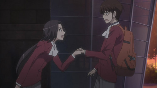 Yui believes it is the duty of women to protect weak men, such as Keima from The World Only God Knows.
