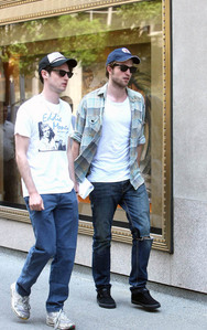my gorgeous baby(in blue hat) with his friend and fellow actor,Tom Sturridge<3