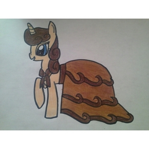 Name: Coffee Creme Gender: Mare Type: Unicorn Personality: Sophisticated, sweet, smart, and kind. Hobbies: Reading, Drawing, and Writing. Biography: She has two parents. She is very smart and uses big words. She likes to correct ponies grammar, and she owns a cafe. Picture: