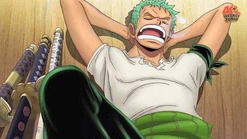 Roronoa Zoro (One Piece) he is the best swordsman but he is also very lazy............& sleeps alot............heh ehe he eh