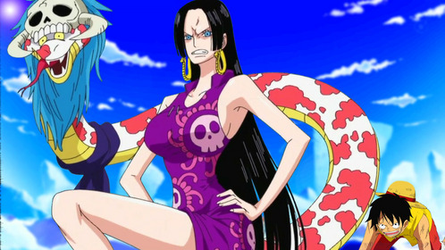 boa Hancock Saving Luffy (One Piece) Hancock saves Luffy from Smoker & Pascifistas in Marine ford arc..ot was sooo Epic it also showed how deadly she is...and she wil become even meer deadly if any one touch her beloved Luffy.....he he he eh