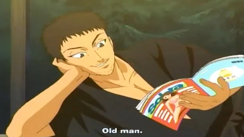 Nanjirō Echizen from prince of tennis. he reads a dirty magazine that has women in it. school girls, girls in bikini's, whtever girls!! but he also cares for his son, ryoma