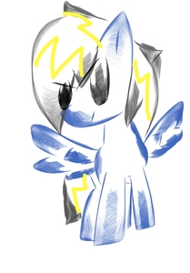 Sure. Am I a little late? Eh,whatevs. I'll use my saat OC. Name: Tornado Flash Gender: Mare Race: Pegasus Cutie Mark: Tornado and lightning bolt Age: 19