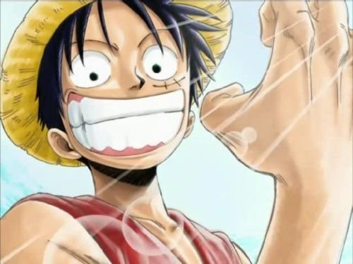 Luffy (One Piece) he is also cheerful, he can be an idiot but can also be very cool, loves his big brother, sometimes thoughtless, sometimes gentle and ... perfect!
