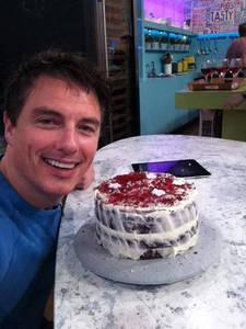 John with a cake!