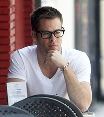 Chris Pine wearing glasses<3