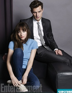 Jamie in his first photo(with Dakota Johnson) as Christian Grey in a tie<3