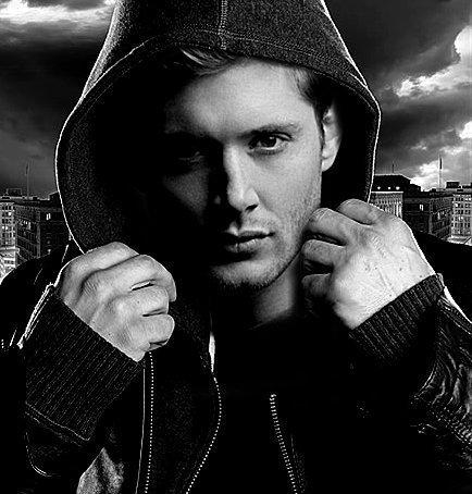 Jensen wearing a hoodie <3