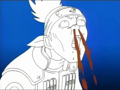 Iruka (Naruto/Naruto Shippuden) gets a nosebleed after seeing Naruto's Sexy Jutsu.