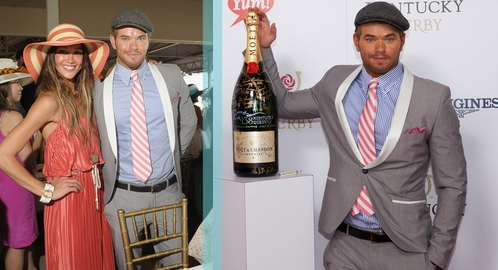 Kellan in a pink striped tie<3