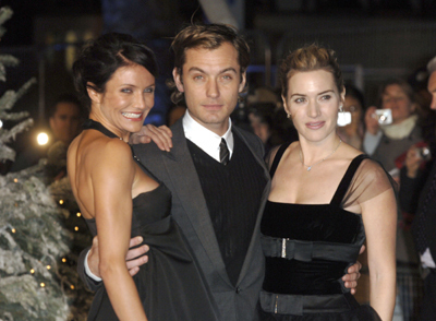 Jude Law with Cameron Diaz & Kate Winslet (cast from The Holiday)