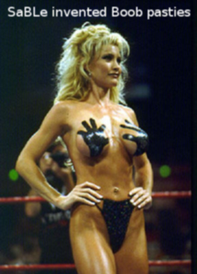 """""""SaBLe invented Boob pasties"""" 来源 of the meme: http://www.memegeneokerlund.com/meme/3tkpwj She had hand-prints on her bust for a bikini contest at Fully Loaded during July 1998."""