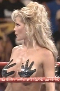 """SaBLe invented Boob pasties"" source of the meme: http://www.memegeneokerlund.com/meme/3tkpwj She had hand-prints on her bust for a bikini contest at Fully Loaded during July 1998."