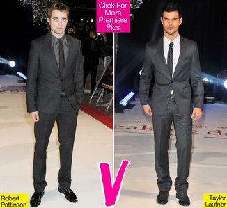 Robert and Taylor both wearing gray<3