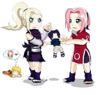 Here's Naruto characters Sakura and Ino fighting over Sasuke. Picture isn't from the anime series but it represents how they were.