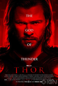 Chris,the mighty Hemsworth on the Thor God of Thunder poster<3