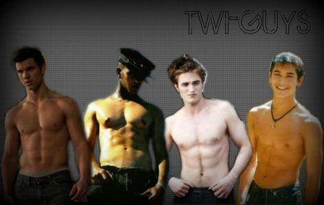 4 sexy,shirtless Twilight guys:Lautner,Lutz,Hottinson and Stewart<3