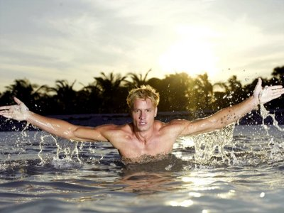 Justin Hartley in water <3