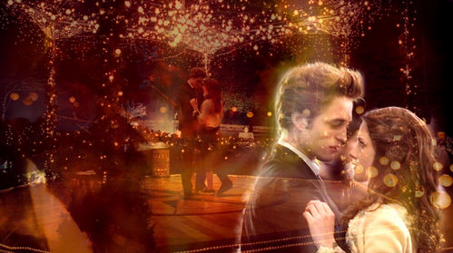 Robert and Kristen in a lighted gazebo from the Twilight prom scene<3