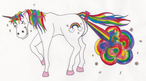 A unicorn farting sparkles! Well the Scottish official animal is a unicorn and john jokes about farting sparkles so it makes sense ;)