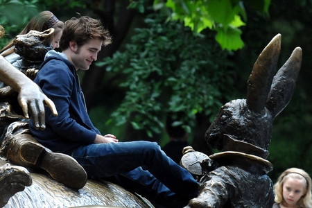 my British hottie in Central Park filming a scene from Remember Me<3