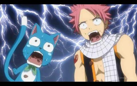 Natsu (Fairy Tail) and Happy with flashing background (out of shock).
