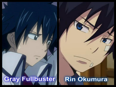 Gray(Fairy Tail) and Rin(Blue Exorcist)