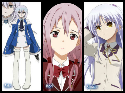 """Inori (from Guilty Crown) and Echo (from Pandora Hearts) for the appearence, Echo and Kanade for the attitude. Echo and Inori are really similar to eachother, just change the color of eyes and hair. Echo and Kanade are similar for the attitude because they speak slowly and with a very soft voice, they both have a long dao, con dao that comes out from their sleaves and they're friend only with a boy, for example Echo is friend with Oz because he start to speak with her and find out that she isn't emotionless like she appears, the same is happened with Otonashi and Kanade, because also Kanade seems to be an emotionless girl, but she isn't. They also have the same hair color, silver hair. So that's why for me they're very similar. Sorry for the pic of Echo, I know is little ^^"""""""