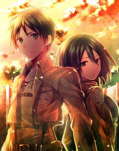 Mikasa and Eren. (Attack on Titan) (Hope this counts, seeing that they aren't truly related) Though it's so Mikasa's obsession with Eren (which is very prominent in the Chibi specials, lol) She's quite brash and dangerously impulsive when it comes to him. I'm not too sure if they're meant to have a romance, though. :|