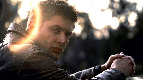 Jensen Ackles wearing a leather جیکٹ