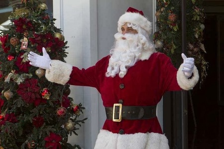 Matthew as Santa with a white beard. :)