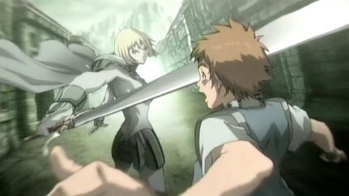 Maybe Claymore? Actually, I think it's an excellent example. Most of the characters are girls, so they're always protecting men. más specifically, the main character, Clare, is always protecting her companion Raki from man-eating yoma. (Manga's better tho, since it still goes on and actually time-skips so Raki is más grown, but yeah) There's not so much romance (more so violence and gore) but they did share a kiss.