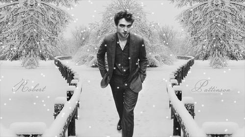 my handsome Robert walking in a winter wonderland<3